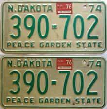 1976 North Dakota  (Pair) license plate for sale
