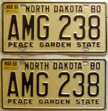 1988 North Dakota  (Pair) license plate for sale