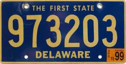1999 Delaware license plate for sale