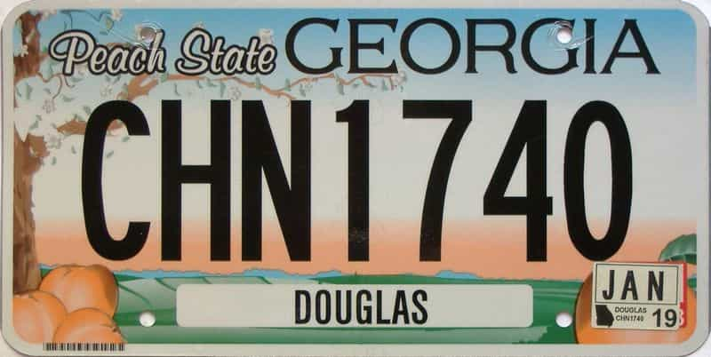 2019 Georgia Counties (Douglas) license plate for sale