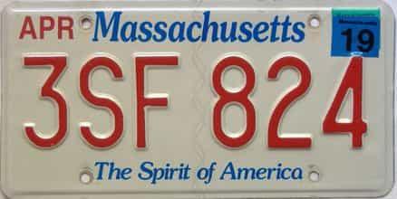 2019 Massachusetts  (Single) license plate for sale