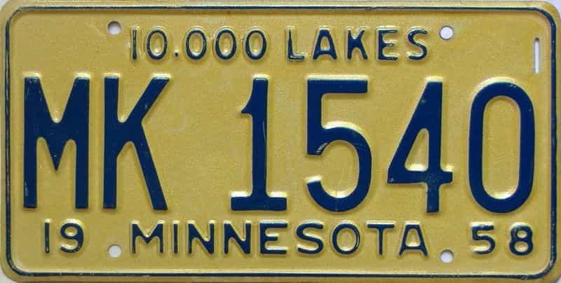 1958 Minnesota  (Single) license plate for sale