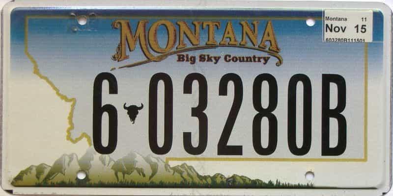 2015 Montana  (Single) license plate for sale