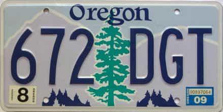 2009 Oregon  (Single) license plate for sale