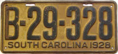 1928 South Carolina license plate for sale