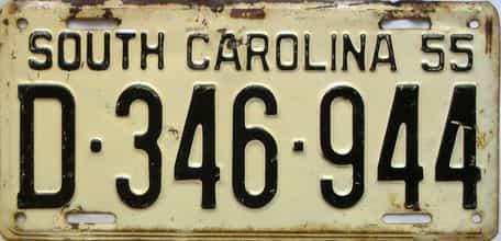 1955 South Carolina  (Single) license plate for sale
