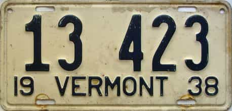 1938 Vermont  (Single) license plate for sale