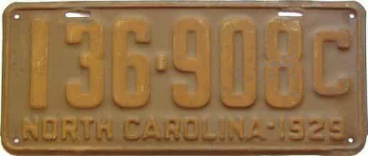 1929 North Carolina license plate for sale