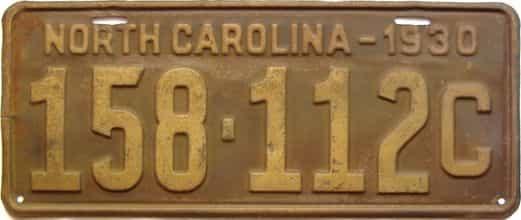 1930 North Carolina  (Single) license plate for sale