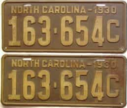1930 North Carolina  (Pair) license plate for sale