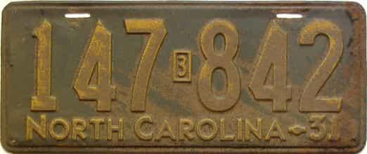 1931 North Carolina  (Single) license plate for sale