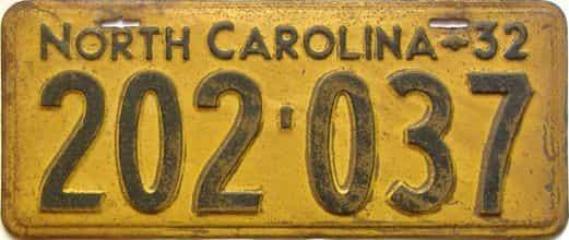 1932 North Carolina  (Single) license plate for sale
