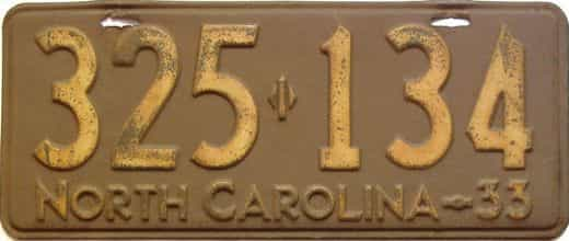 1933 North Carolina  (Single) license plate for sale