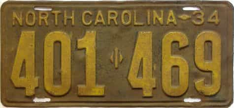 1934 North Carolina  (Single) license plate for sale