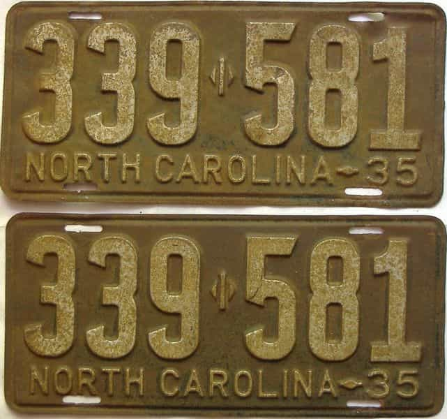 1935 North Carolina  (Pair) license plate for sale
