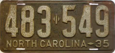 1935 North Carolina  (Single) license plate for sale