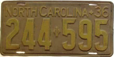 1936 North Carolina  (Single) license plate for sale