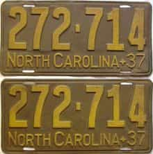 1937 North Carolina  (Pair) license plate for sale