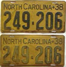 1938 North Carolina  (Pair) license plate for sale
