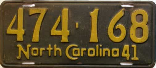 1941 North Carolina  (Single) license plate for sale