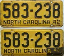 1943 North Carolina  (Pair) license plate for sale