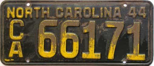 1944 North Carolina  (Trailer) license plate for sale