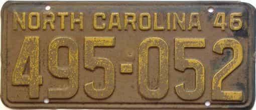 1946 North Carolina license plate for sale