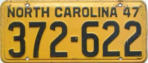 1947 North Carolina license plate for sale