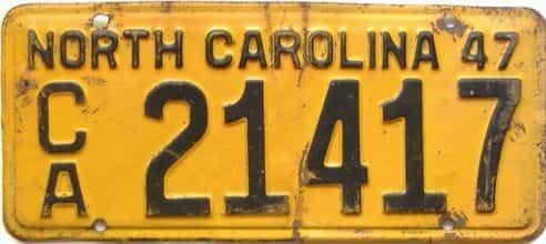 1947 North Carolina  (Trailer) license plate for sale