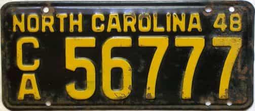 1948 North Carolina  (Trailer) license plate for sale