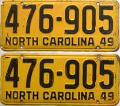 1949 North Carolina  (Pair) license plate for sale