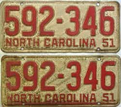 1951 North Carolina  (Pair) license plate for sale