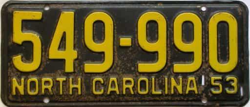 1953 North Carolina license plate for sale
