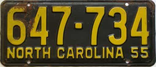1955 North Carolina  (Single) license plate for sale