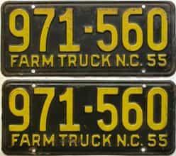 1955 North Carolina  (Farm Truck) license plate for sale