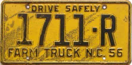 1956 North Carolina  (Farm Truck) license plate for sale