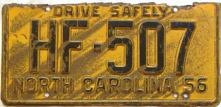 1956 North Carolina license plate for sale
