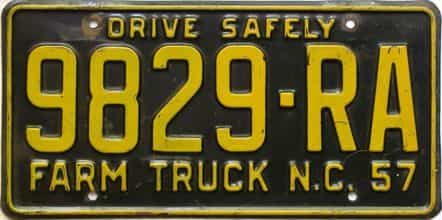 1957 North Carolina  (Farm Truck) license plate for sale