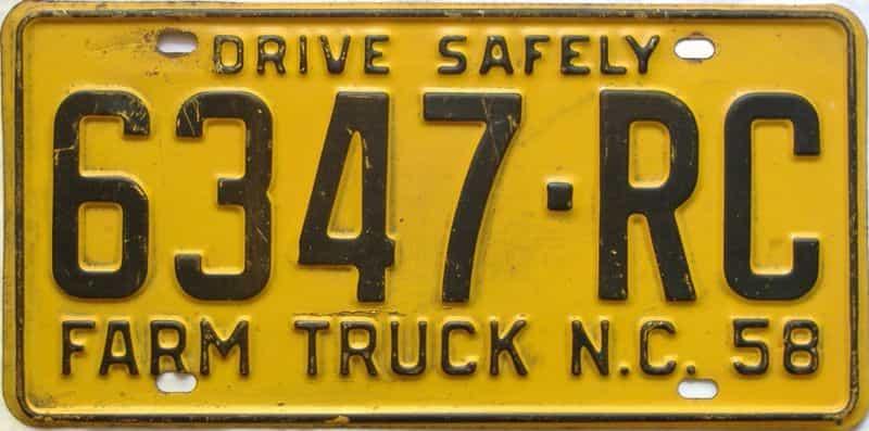 1958 North Carolina  (Farm Truck) license plate for sale
