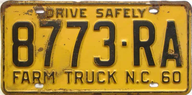 1960 North Carolina  (Farm Truck) license plate for sale
