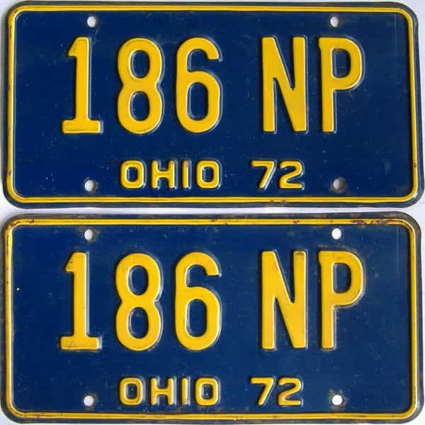 1972 Ohio (Pair) license plate for sale