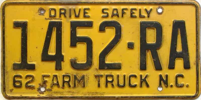 1962 North Carolina  (Farm Truck) license plate for sale