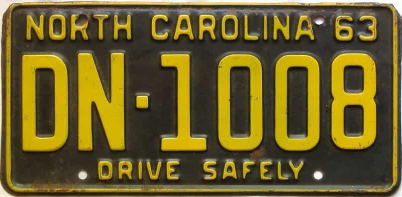 1963 North Carolina license plate for sale