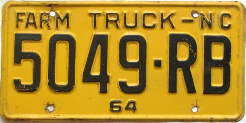 1964 North Carolina  (Farm Truck) license plate for sale