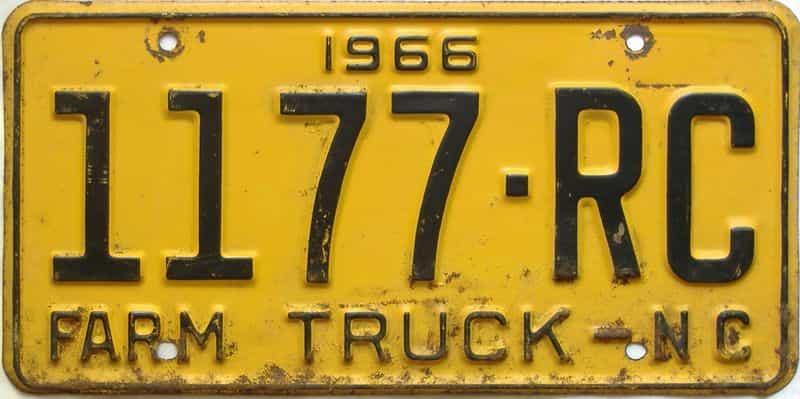 1966 North Carolina  (Farm Truck) license plate for sale