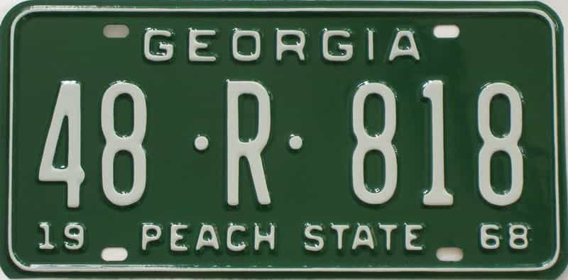 YOM RESTORED 1968 GA (Truck) license plate for sale