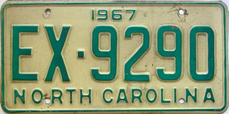 1967 North Carolina license plate for sale