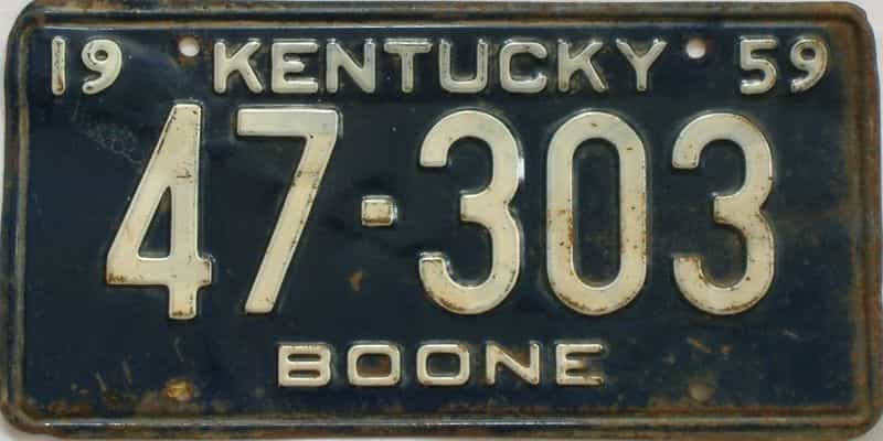 1959 KY license plate for sale