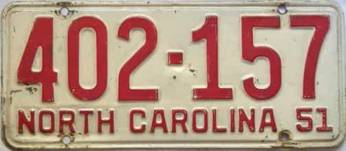 1951 North Carolina  (Single) license plate for sale