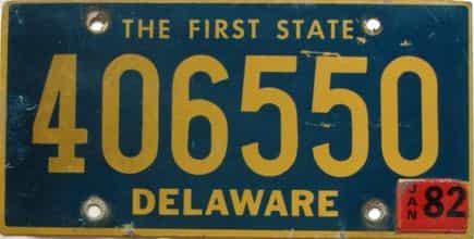 1982 Delaware license plate for sale